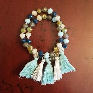 Jewelry - BOHO TURQOUISE & SILVER TASSEL BEAD BRACELET